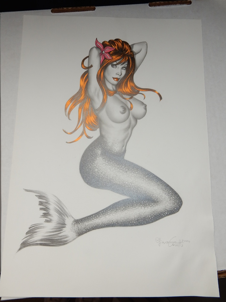 Sexy Original Art - Nude Mermaid by Giovanna Casotto