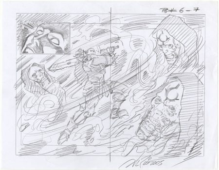 Dungeon Siege Original Art Preliminary Sketch by Al Rio - Signed 2005