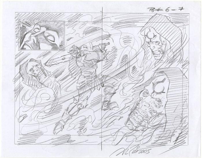 Dungeon Siege Original Art Preliminary Sketch by Al Rio - Signed 2005