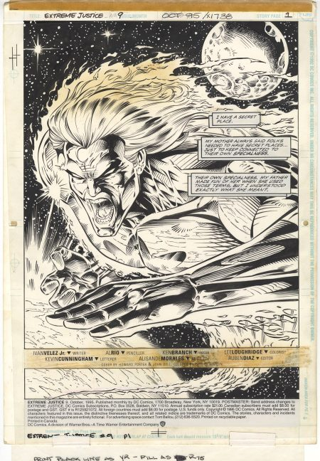 Extreme Justice #9 page 1 1995 Splash Page by Al Rio for DC Comics