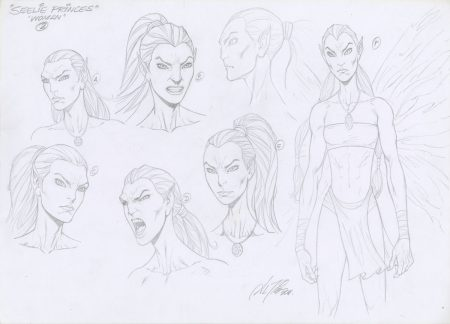"Model Sheet Original Art by Al Rio ""Seelie Princess"" Fae Fairies for Fever Moon"