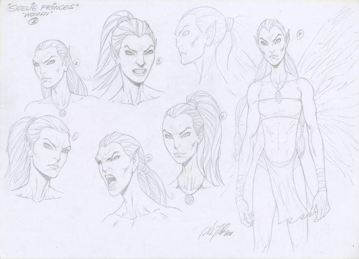 "Model Sheet Original Art by Al Rio ""Seelie Princess"" Fae Fairies for Fever Moon"