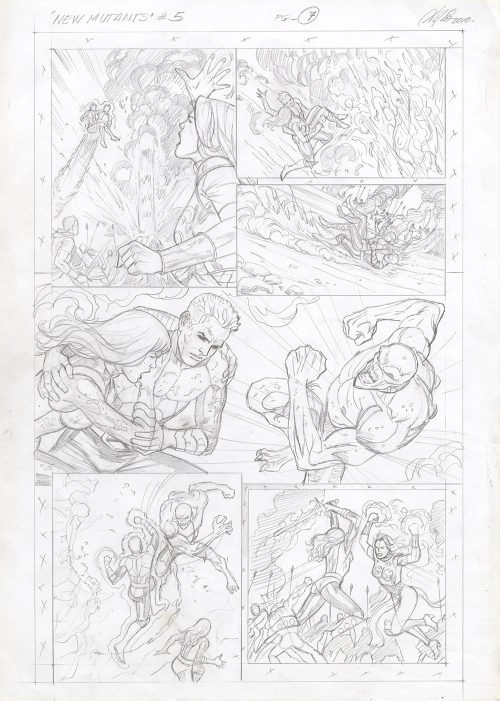 New Mutants #5, Page 7 - Original Comic Art prelim page by Al Rio