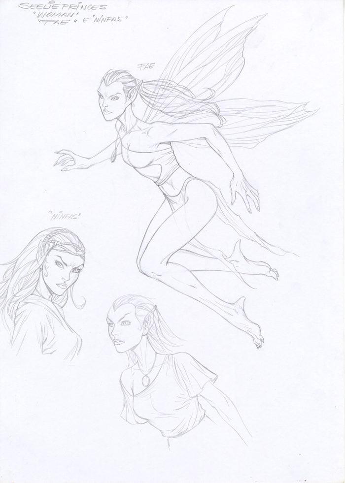 "Al Rio ""Fae"" Prelim Sketches for Karen Marie Moning's ""Fever Moon"" Graphic Novel"