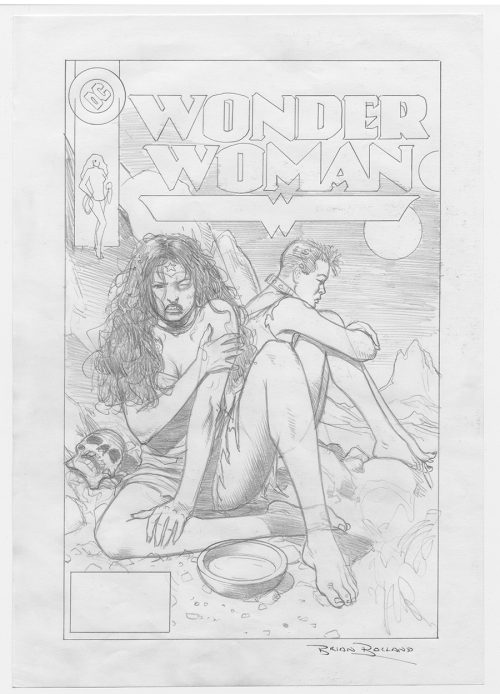 "Brian Bolland ""Wonder Woman"" Cover Prelim. Pencils, Signed. DC Comics"