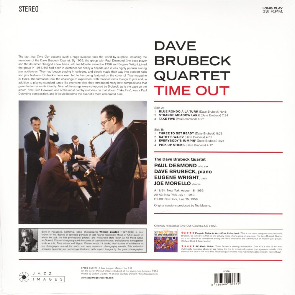 Dave Brubeck - Time Out - 180 Gram, Vinyl, Gatefold, Virgin Vinyl, Deluxe, Spain, 2018