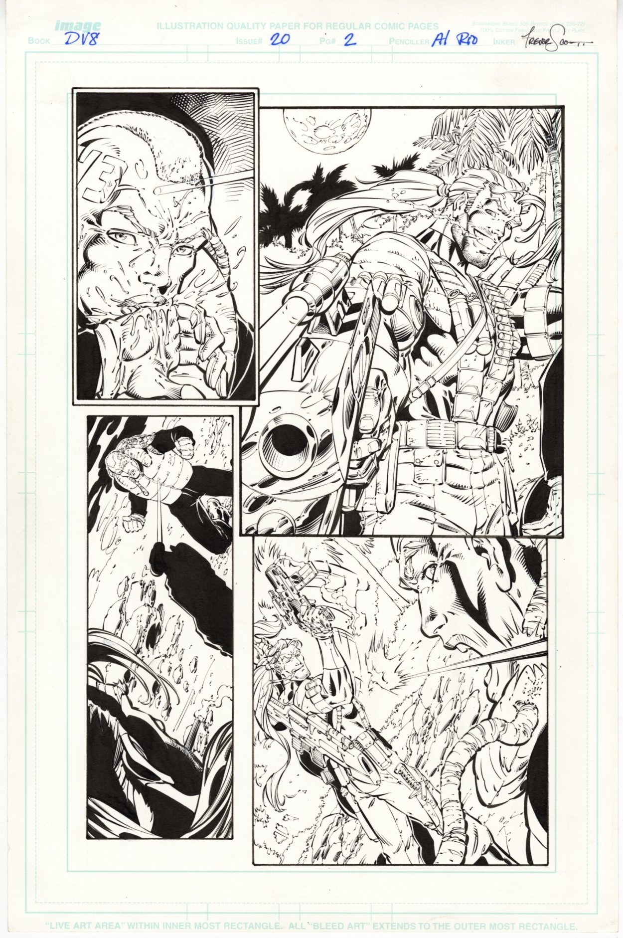 DV8 #20, page 2, Original Comic Art, Al Rio pencils, Trevor Scott inks, Wildstorm Comics, 1998