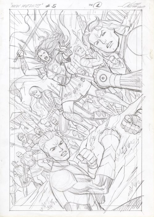 New Mutants #5 page 1 Prelim by Al Rio