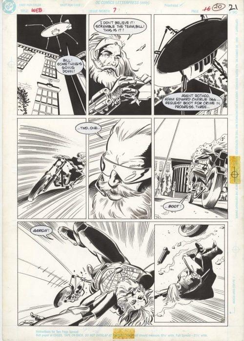 The Web #7, page 21 - Original Comic Art - Tom Artis, Bill Wray, Impact, DC Comics, 1992