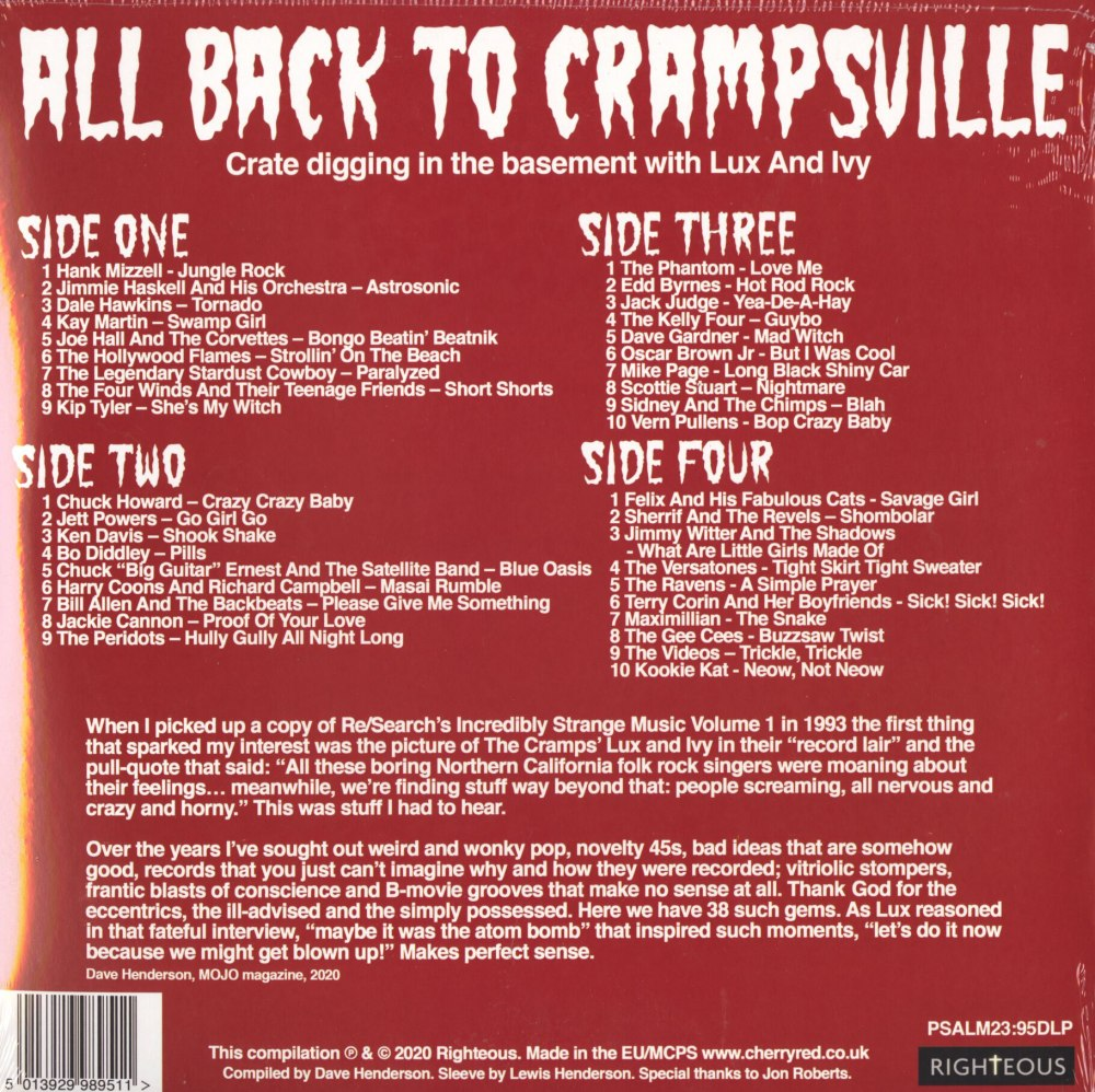Various - All Back To Crampsville: Crate Digging In The Basement With Lux & Ivy, Righteous, 2020