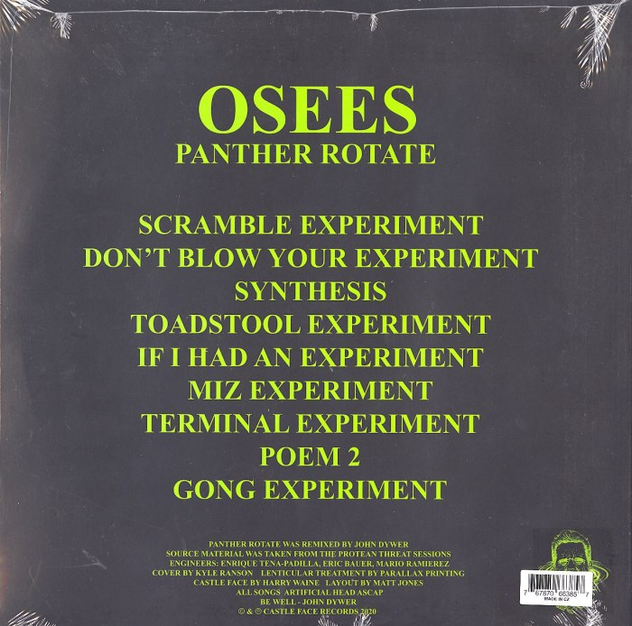 Osees - Panther Rotate - Limited Edition, Purple, Colored Vinyl, Castleface Records, 2020