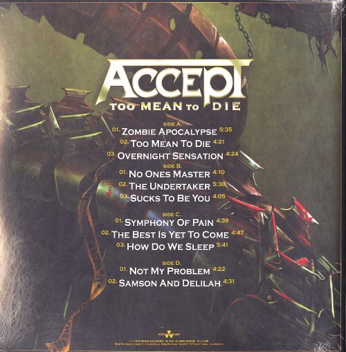 Accept - Too Mean to Die - Ltd Ed, Red w White Splatter, Double Vinyl, Nuclear Blast, 2021