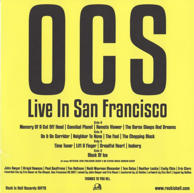 OCS - Live In San Francisco - Double Vinyl, LP, Rock Is Hell, 2019