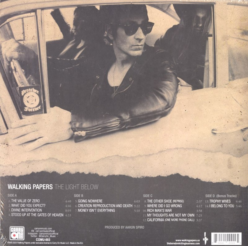 Walking Papers - The Light Below - Ltd Ed, White, Double Vinyl, LP, Carry On Music, 2021