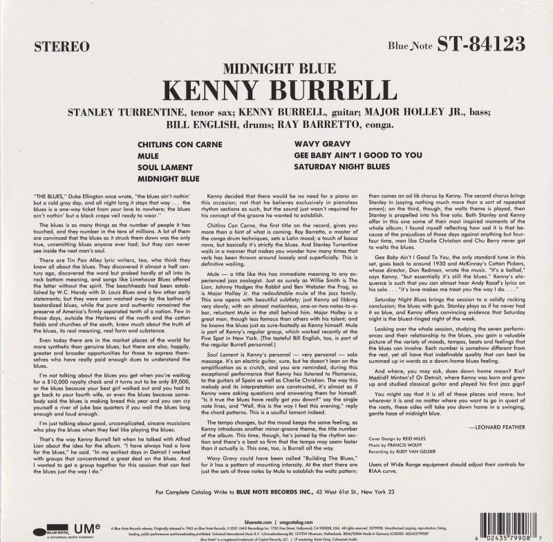Kenny Burrell - Midnight Blue - Audiophile, 180 Gram Vinyl, Blue Note, 2021